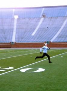 Emily Running at University of Michigan Big House