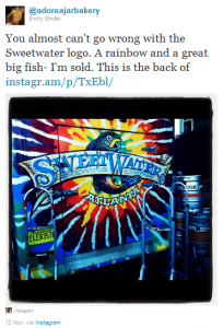 Sweetwater Brewery Instagram picture by Emily Binder Twitter adoreajarbakery