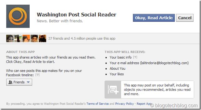 Washington Post Social Reader Facebook App