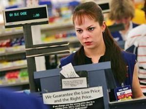 Angry rude cashier at Walmart