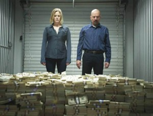 Breaking Bad - Walter and Skyler White piles of money in storage