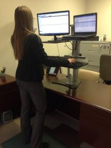 Emily Binder at standing desk