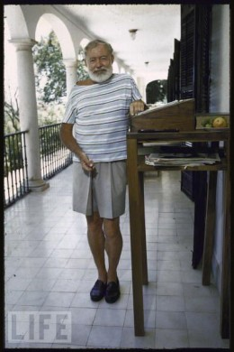 Ernest Hemingway at his standing desk Life Magazine cover 1960