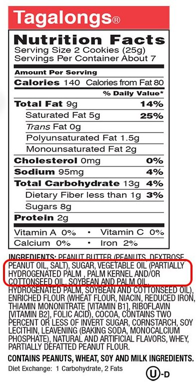 Tagalongs Nutrition Facts: Ingredients: Peanut Butter (Peanuts, dextrose, peanut oil, salt), sugar, vegetable oil (partially hydrogenated palm, palm kernel and/or cottonseed oil, soybean and palm oil...