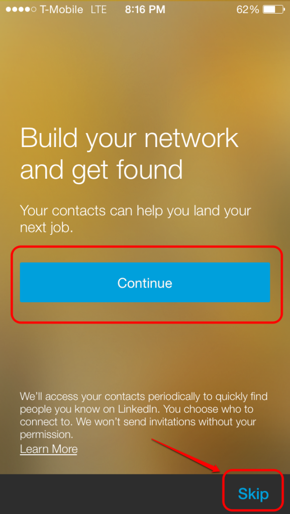 LinkedIn app import contacts screen UI
