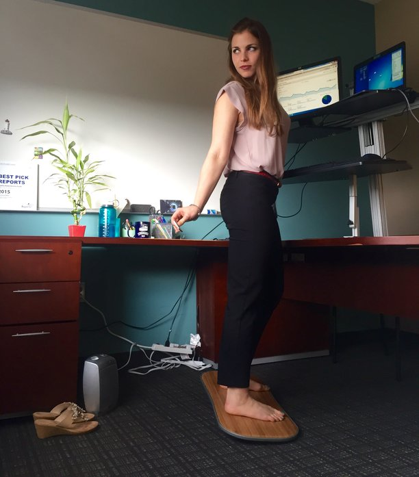 Emily Binder using The Level for standing desk
