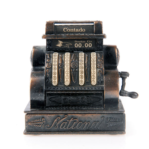 antique cash register on white background