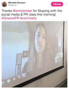 Michelle Groover tweet about Emily Binder speech commarts class