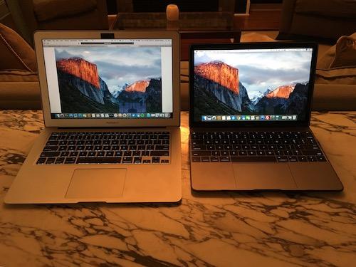 Macbook Air next to Macbook