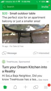 screenshot of Nextdoor app with sponsored post