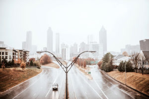 rainy day skyline from Freedom Parkway in Atlanta