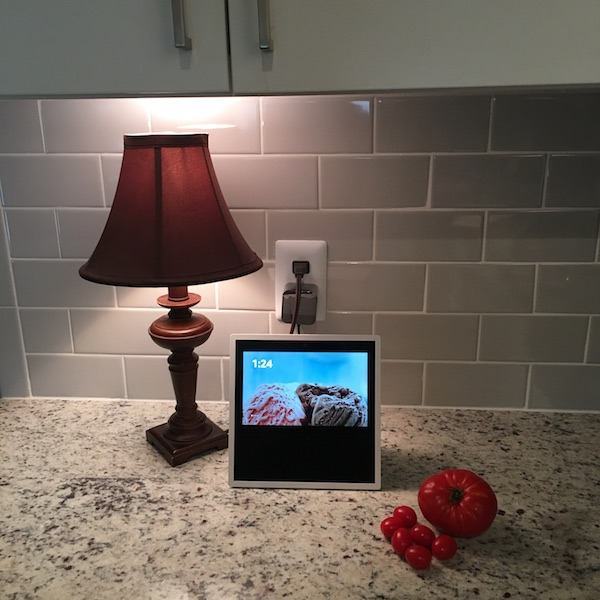 Echo Show on kitchen counter with tomatoes