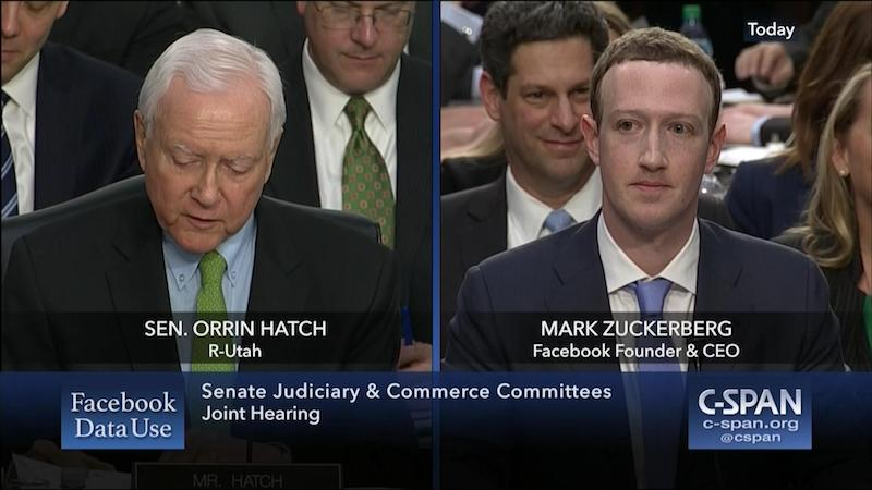 Orrin Hatch questions Mark Zuckerberg at Facebook Senate hearing