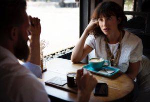 woman and man coffee meeting