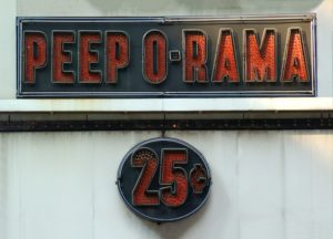 Peep-O-Rama sign 25 cent price