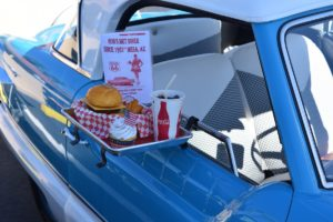 vintage 1950s car drive in fast food