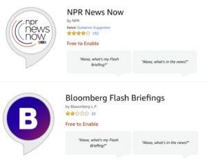 Examples of popular news Flash Briefings