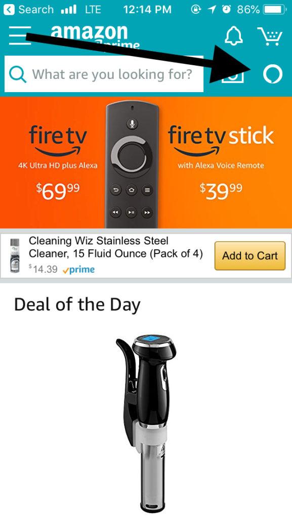 Amazon app home screen Alexa icon