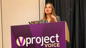 Emily Binder speaking at Project Voice