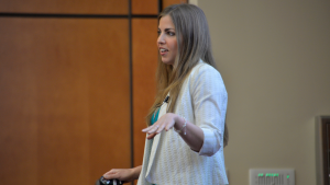 Emily Binder speaking at University of Wisconsin