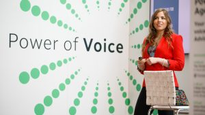 Emily Binder speaking - Power of Voice stage - TD National LINC