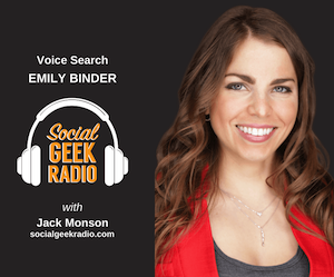 social geek radio podcast cover with emily binder