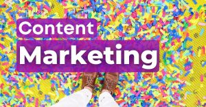 content marketing header confetti shoes